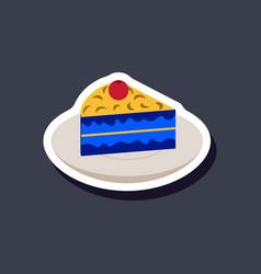 Sweet dessert in paper sticker berry pie on a vector