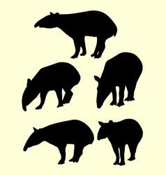 Tapir animal gesture silhouette vector