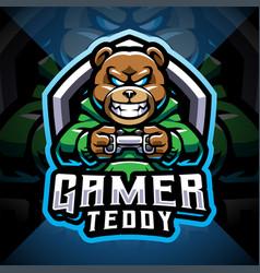 Teddy bear gamer esport mascot logo vector