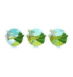 three months year set spring season nature vector image