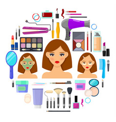 tools for makeup and beauty on white background vector image