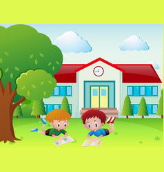 two boys reading book in the school yard vector image
