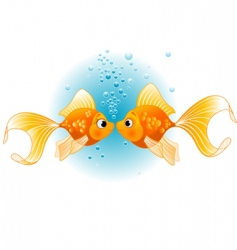 Two fishes in love vector