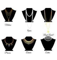 Types of necklaces by length vector