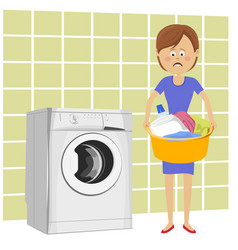Unhappy woman with basin filled with dirty clothes vector