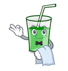 waiter green smoothie mascot cartoon vector image