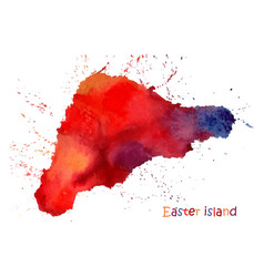 watercolor map easter island stylized image vector image