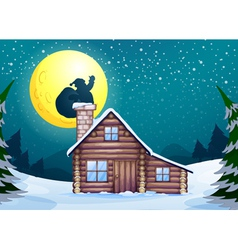 Winter cabin vector image
