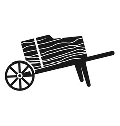 Wood wheelbarrow icon simple style vector