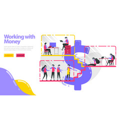 working with money people work do activities and vector image