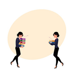 Young businesswoman carrying document folders vector