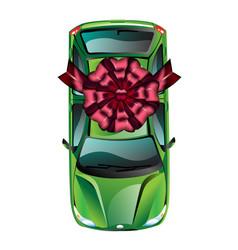 car wrapped gift ribbon vector image
