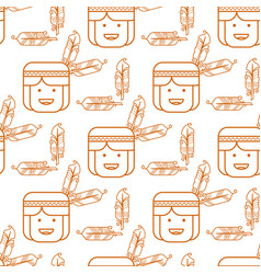 cute indian with feathers seamless pattern vector image vector image