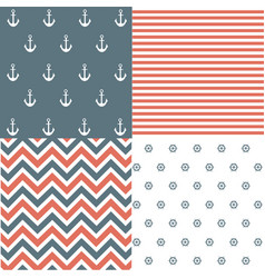 nautical seamless patterns vector image
