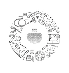 Sewing kit round frame vector image vector image