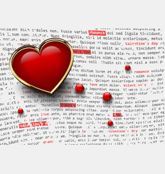 valentines day white background with glossy red vector image vector image