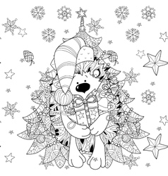 Doodle hand drawn xmas hedgehog with gift box vector image
