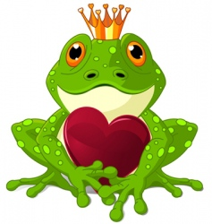 frog with heart vector image vector image