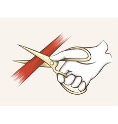 Hand with scissors vector