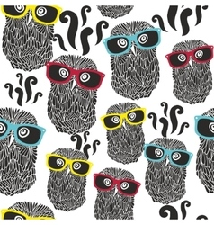 Seamless party pattern with happy owls in vector image