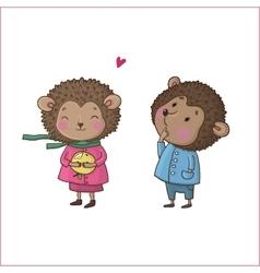 Cute cartoon hedgehogs vector image