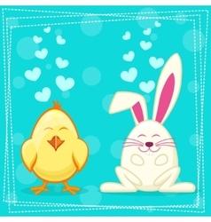 Cute yellow cartoon chicken and rabbit vector image
