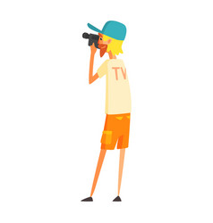 videographer journalist shooting video official vector image vector image