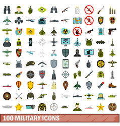 100 military icons set flat style vector image