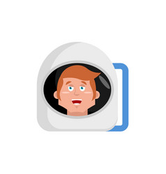 astronaut happy emoji cosmonaut merry emotion vector image vector image