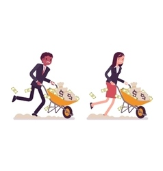 Business people pushing wheelbarrow full of money vector image