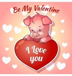 Cute piggy for Valentines Day vector image