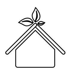 figure sticker house with leaves above the roof vector image