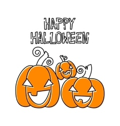 Happy pumpkins Halloween design card template vector image