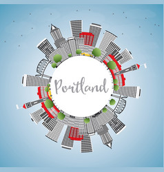 Portland skyline with gray buildings blue sky and vector