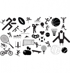 sports figures and equipment vector image vector image