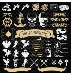 Tattoo Elements Decorative Icons Set vector image