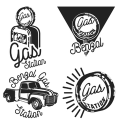 Vintage gas station emblems vector image