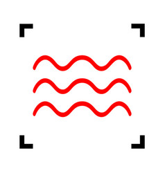 waves sign red icon inside vector image