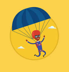 young happy man flying with parachute vector image