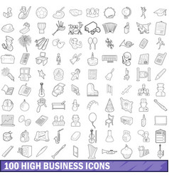 100 high school icons set outline style vector