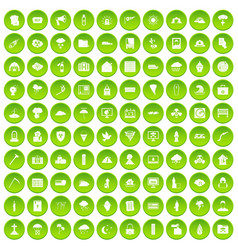 100 natural disasters icons set green vector