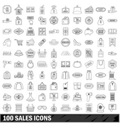 100 sales icons set outline style vector image