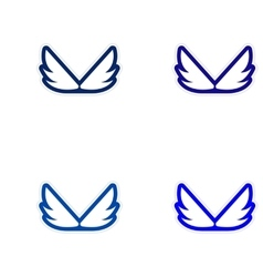 Assembly stickers wings eagle vector
