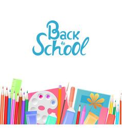 back to school banner school supplies for vector image