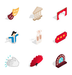 ballet icons isometric 3d style vector image