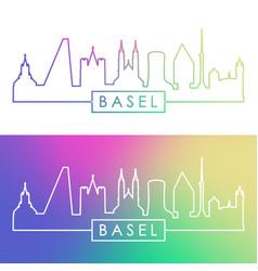 basel skyline colorful linear style editable vector image