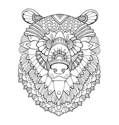 bear head coloring book vector image