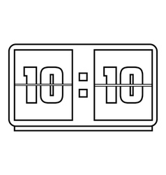 Big digital clock icon outline style vector