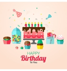 Birthday cupcakes poster vector