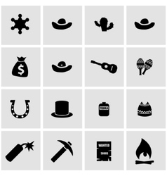 Black wild west icon set vector